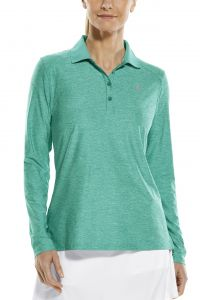 Coolibar---Sport-Longsleeve-UV-Polo-for-women---Mint-Heather