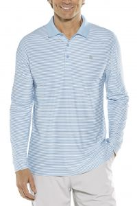 Coolibar---Sport-Longsleeve-UV-Polo-for-men---Stripe---Vintage-Blue/White