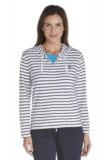 Coolibar---Cowl-Neck-Pullover---navy/-white-stripe