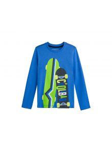 Coolibar---UV-shirt-for-kids---skateboards---blue