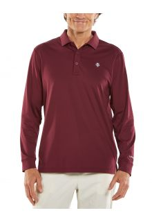 Coolibar---UV-Sport-Polo-for-men---Longsleeve---Erodym-Golf---Maroon