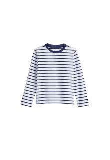Coolibar---UV-shirt-for-children-longsleeve---White-/-navy-stripes