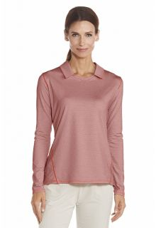 Coolibar---UV-Polo---Long-sleeves---Peach