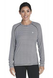 Coolibar---Long-sleeve-UV-Sport-Tee---black/white-stripe