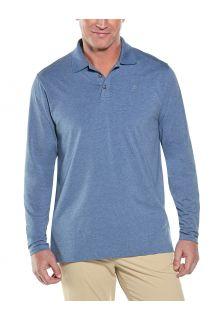 Coolibar---UV-Polo-Shirt-for-men---Longsleeve---Coppitt---Pacific-Blue
