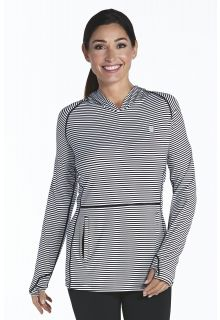 Coolibar---Cowl-Neck-Pullover---black/white-stripe