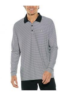 Coolibar---UV-Sport-Polo-for-men---Longsleeve---Erodym-Golf---Black/White