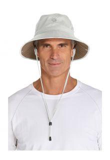 Coolibar---Featherweight-UV-Bucket-Hat-for-men---Chase---Stone/Khaki