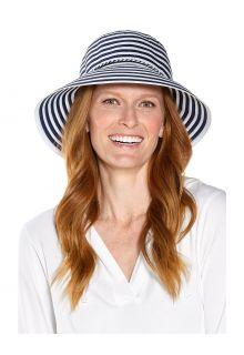 Coolibar---UV-Bucket-Hat-for-women---Audrey-Ribbon---Navy/White