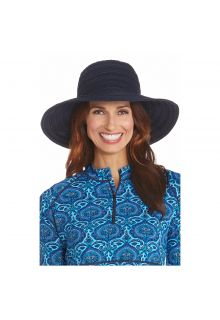 Coolibar---UV-floppy-hat-for-women-with-ribbons---Navy-blue
