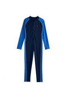 Coolibar---UV-swimsuit-for-boys---long-sleeve---Navy/Baja-Blue
