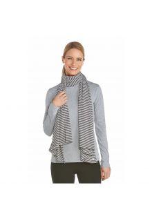Coolibar---UV-sun-scarf---Black-/-white-stripes