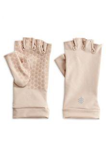 Coolibar---UV-resistant-fingerless-gloves---Beige