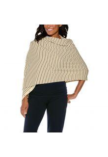 Coolibar---UV-resistant-convertible-shawl---Cream/Black-striped
