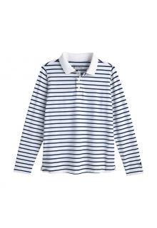 Coolibar---UV-Polo-Shirt-for-kids---Longsleeve---Coppitt---White/Navy