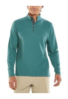 Coolibar---UV-Pullover-with-Quarter-Zip-for-men---Sonora---Sea-Green