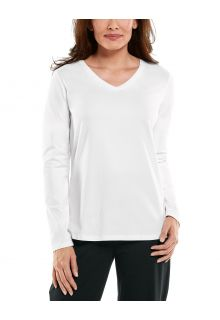 Coolibar---UV-Shirt-for-women---V-Neck-Longsleeve---Morada---White