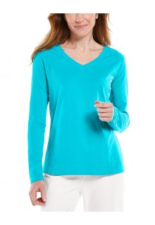Coolibar---UV-Shirt-for-women---V-Neck-Longsleeve---Morada---Turquoise