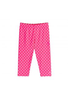 Coolibar---UV-capri-swim-leggings-for-kids---pink/white-polka-dots