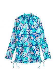 Coolibar---UV-Swim-Shirt-for-girls---Longsleeve---Lawai-Ruche---Marlin-Blue-Floral