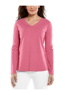 Coolibar---UV-Shirt-for-women---V-Neck-Longsleeve---Morada---Dahlia-Pink
