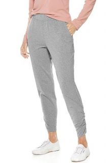 Coolibar---Casual-ruched-UV-Pants-for-women---Grey