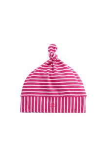 Coolibar---UV-baby-beanie-hat---magenta/white-stripes