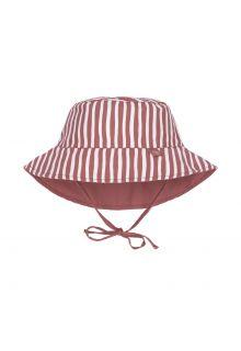 Lässig---Reversible-UV-Bucket-hat-for-babies---Stripes---Red