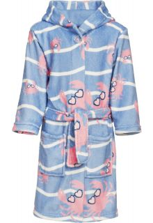 Playshoes---Fleece-bathrobe-for-girls---Crab---Lightblue/Pink