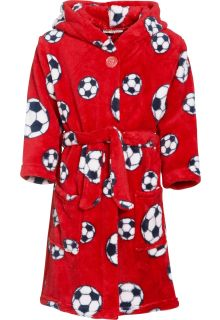 Playshoes---Fleece-Bathrobe-with-hoodie---Football-Red
