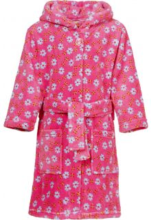 Playshoes---Fleece-Bathrobe-with-hoodie---Flowers-Pink