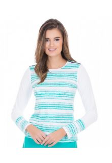 Cabana-Life---UV-resistant-Rashguard-with-zipper-for-ladies---Turquoise/White