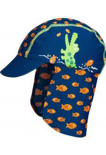 Playshoes---UV-sun-cap-for-children---Crocodile---Blue