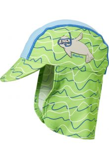 Playshoes---UV-sun-cap-with-neck-flap-for-kids---seal---blue/green-