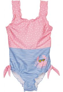 Playshoes---UV-bathingsuit-for-girls---Crab---Pink/Lightblue