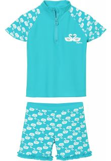 Playshoes---UV-swim-set-for-girls---swans---light-blue