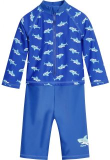 Playshoes---UV-swimsuit-for-boys---longsleeve---Sharks---Blue