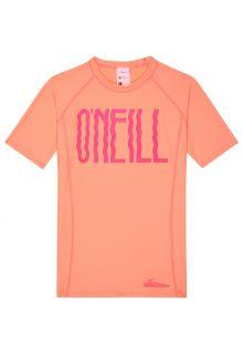 O'Neill---Short-sleeved-UV-shirt-for-girls---Logo---peach-coloured