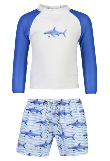 Snapper-Rock---UV-Swim-set-for-babies---School-of-Sharks---White/Blue