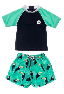 Snapper-Rock---UV-Swim-set-for-baby-boys---Short-Sleeve---Toucan-Talk---Darkblue/Mint