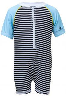 Snapper-Rock---UV-Swimsuit-with-short-sleeves---Stripes---Black/White/Blue