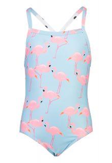 Snapper-Rock---X-Back-Bathingsuit-for-girls---Flamingo-Social---Light-blue