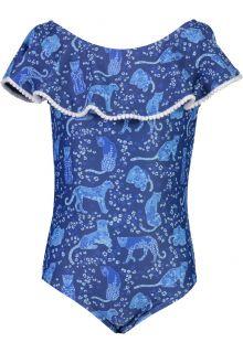 Snapper-Rock---Off-Shoulder-Bathingsuit-for-girls---Cheetah-Frill---Blue