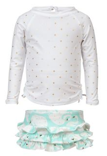 Snapper-Rock---Swim-set-Swan---Golden-dots-/-mint-green