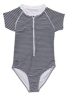 Snapper-Rock---UV-Swim-suit-for-girls---Short-sleeve---Nautical-Stripe---Darkblue/White