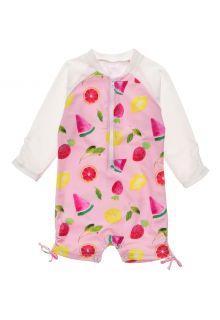 Snapper-Rock---UV-Swim-suit-for-baby-girls---Longsleeve---Fruit-Fiesta---Pink
