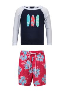 Snapper-Rock---UV-Swim-set---Hibiscus-Surfboard---Blue/Red