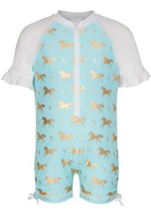 Snapper-Rock---Short-Sleeve-Sunsuit---Gold-Horse