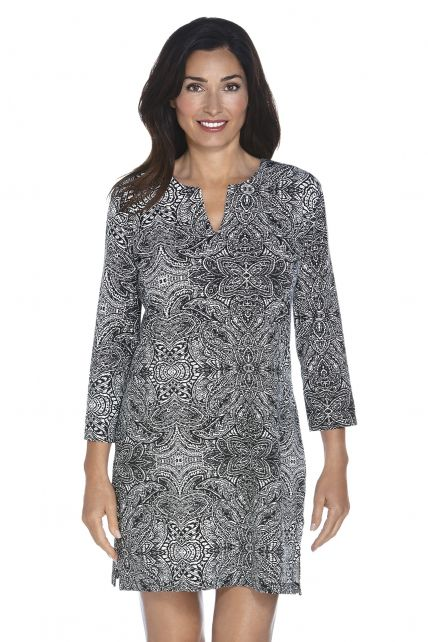 Coolibar---UPF-50+-Women's-Oceanside-Tunic-Dress---Black-Floral