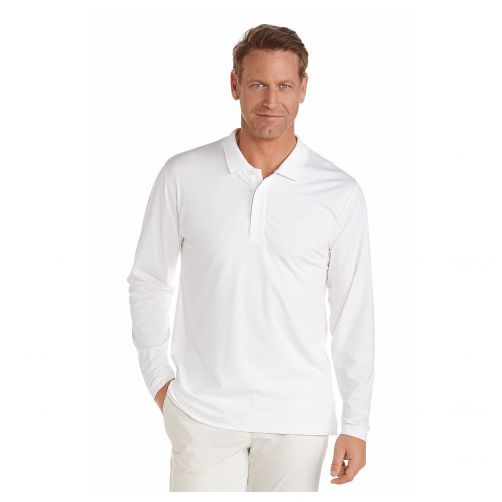 Coolibar---UV-polo-shirt-for-men-longsleeve---White